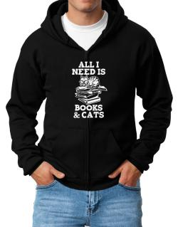 All I need is books and cats Zip Hoodie - Mens