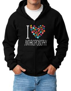 I love Anthroposophy colorful hearts Zip Hoodie - Mens