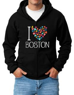I love Boston colorful hearts Zip Hoodie - Mens