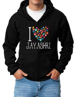 I love Jayashri colorful hearts Zip Hoodie - Mens
