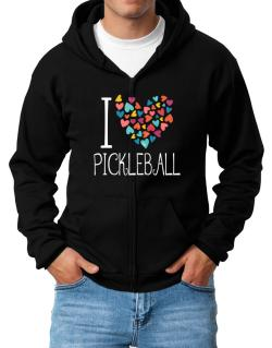 I love Pickleball colorful hearts Zip Hoodie - Mens