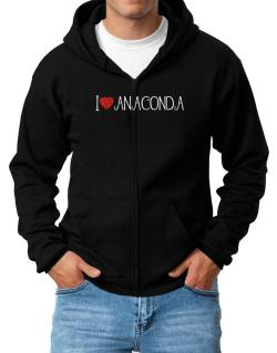 I love Anaconda cool style Zip Hoodie - Mens