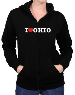 I Love Ohio Zip Hoodie - Womens