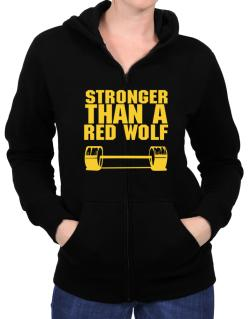 Stronger Than A Red Wolf Zip Hoodie - Womens