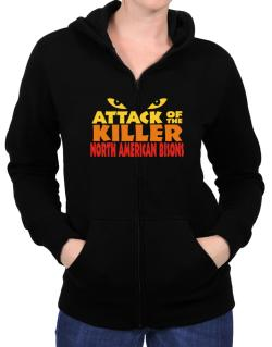Attack Of The Killer North American Bisons Zip Hoodie - Womens