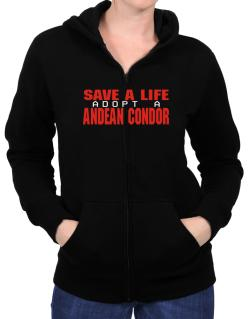 Save A Life, Adopt An Andean Condor Zip Hoodie - Womens