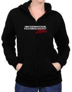 Information Technologist With Attitude Zip Hoodie - Womens