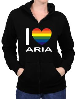 I Love Aria - Rainbow Heart Zip Hoodie - Womens