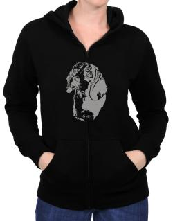 Beagle Face Special Graphic Zip Hoodie - Womens