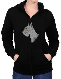 """ Schnauzer FACE SPECIAL GRAPHIC "" Zip Hoodie - Womens"