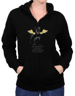 My American Bulldog Waits For Me In Heaven Zip Hoodie - Womens
