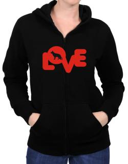 Love Silhouette German Shepherd Zip Hoodie - Womens
