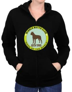 Boston Terrier - Wiggle Butts Club Zip Hoodie - Womens