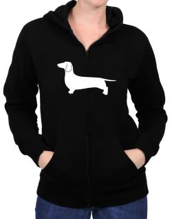 Dachshund Silhouette Embroidery Zip Hoodie - Womens