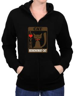 Cat Lover - Hemingway Cat Zip Hoodie - Womens