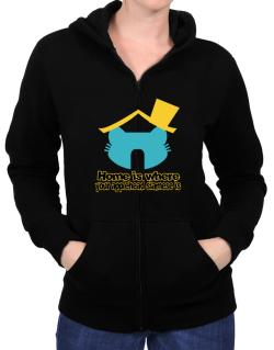 Home Is Where Applehead Siamese Is Zip Hoodie - Womens