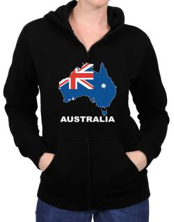 Australia - Country Map Color Zip Hoodie - Womens