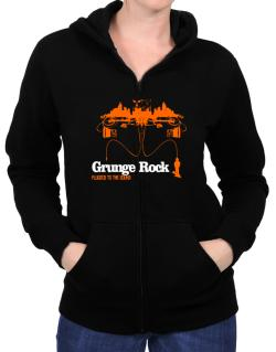 """  Grunge Rock plugged into the sound "" Zip Hoodie - Womens"