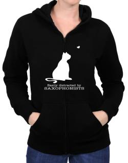 Easily Distracted By Saxophonists Zip Hoodie - Womens