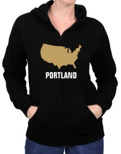Portland - Usa Map Zip Hoodie - Womens