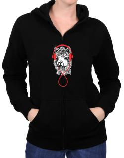 Llama with headphones Zip Hoodie - Womens