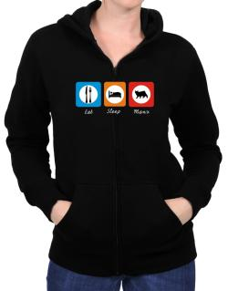 Eat sleep Manx Zip Hoodie - Womens