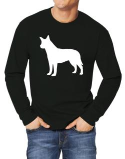 Australian Cattle Dog Silhouette Embroidery Long-sleeve T-Shirt