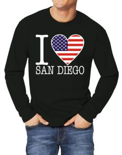 """ I love San Diego - American Flag "" Long-sleeve T-Shirt"