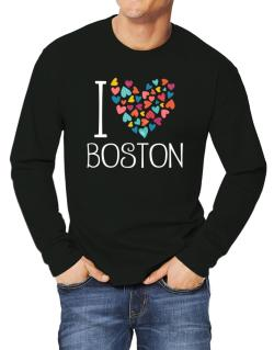 I love Boston colorful hearts Long-sleeve T-Shirt