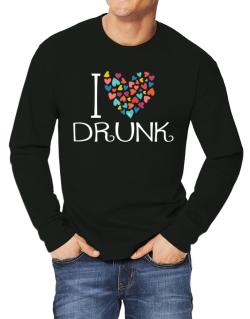 I love Drunk colorful hearts Long-sleeve T-Shirt