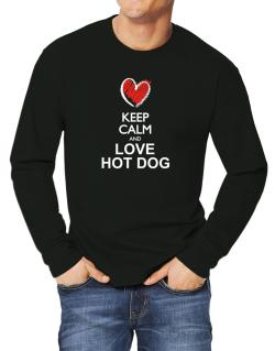 Keep calm and love Hot Dog chalk style Long-sleeve T-Shirt