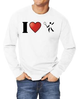 I Love Badminton - Silhouette Long-sleeve T-Shirt