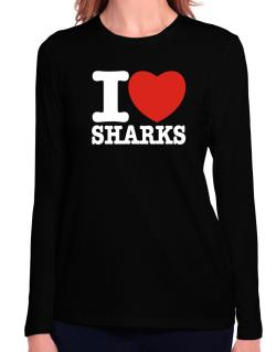 I Love Sharks Long Sleeve T-Shirt-Womens