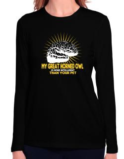 My Great Horned Owl Is More Intelligent Than Your Pet Long Sleeve T-Shirt-Womens