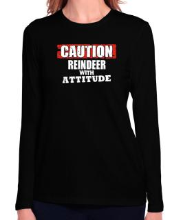 Caution - Reindeer With Attitude Long Sleeve T-Shirt-Womens