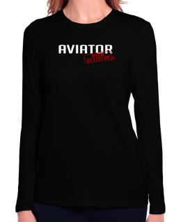 Aviator With Attitude Long Sleeve T-Shirt-Womens