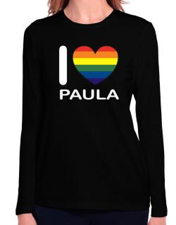 I Love Paula - Rainbow Heart Long Sleeve T-Shirt-Womens