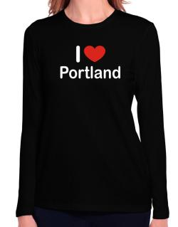 I Love Portland Long Sleeve T-Shirt-Womens