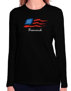 Bismarck - Us Flag Long Sleeve T-Shirt-Womens