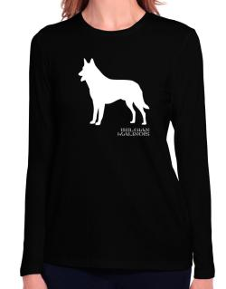Belgian Malinois Stencil / Chees Long Sleeve T-Shirt-Womens
