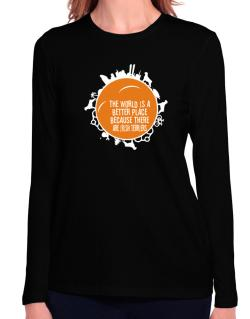 Better Place Irish Terriers Long Sleeve T-Shirt-Womens