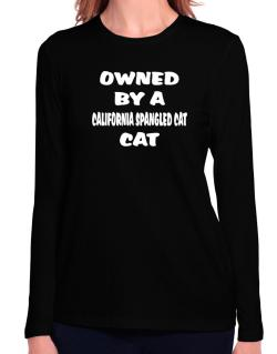 Owned By S California Spangled Cat Long Sleeve T-Shirt-Womens
