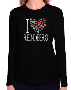 I love Reindeers colorful hearts Long Sleeve T-Shirt-Womens
