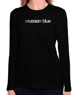 Hashtag Russian Blue Long Sleeve T-Shirt-Womens