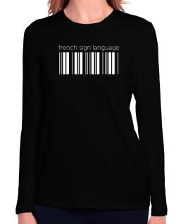 French Sign Language barcode Long Sleeve T-Shirt-Womens