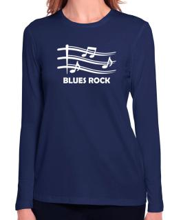 Blues Rock - Musical Notes Long Sleeve T-Shirt-Womens