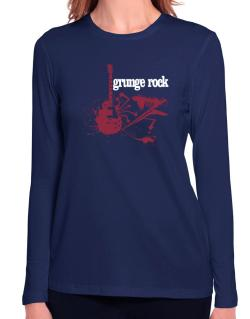 Grunge Rock - Feel The Music Long Sleeve T-Shirt-Womens