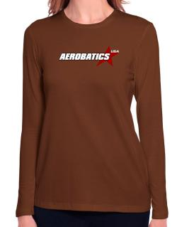 Aerobatics Usa Star Long Sleeve T-Shirt-Womens