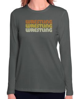 Wrestling Retro Color Long Sleeve T-Shirt-Womens