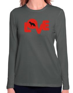 Love Silhouette German Shepherd Long Sleeve T-Shirt-Womens